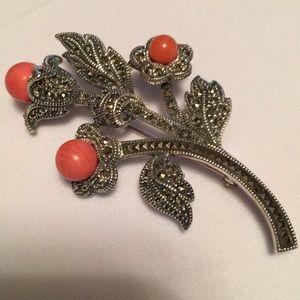 Judith Jacks Vintage Coral Flower Brooch/Pin